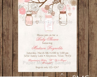 Vintage Baby Shower Invitation, Vintage Mason Jars Shower Invitation, Girl, Vintage Baby Shower Invitation - 1.00 each with envelope