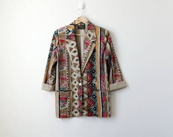 80s Geometric Tribal Blazer - Watercolor 80s Blazer - 80s Jacket - 80s Clothing - Hippie Boho Patterned Blazer Hippie Coat - Women's M