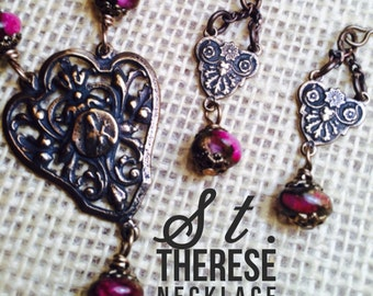 St. Therese of Lisieux Bronze Necklace & Earring Set, Sacred Heart Erarrings, Ruby Red Golden Pressed Jade Rondelle, Wire Wrapped, Catholic