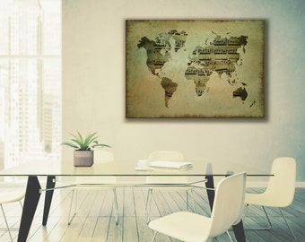Textured world globe etsy world map gallery wrapped canvas with vintage sheet music and textured layers old world style gumiabroncs Gallery