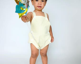 Heirloom Baby Shower Gift | Baby Boy Gift | Unique Gifts for Baby | Boys Yellow Romper | Vintage Playsuit for Boy | Toddler Romper Outfit