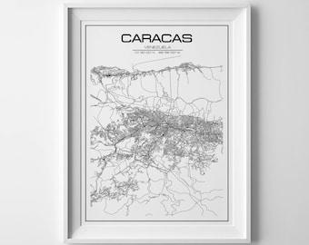Caracas city map caracas wall art venezuela map caracas map caracas poster caracas print  caracas venezuela caracas gift city map home decor