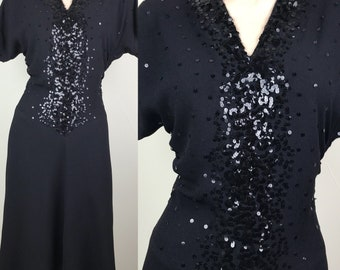 Gorgeous Vintage 1940s Black Crepe Dress With All Over Sequin Detail Size M