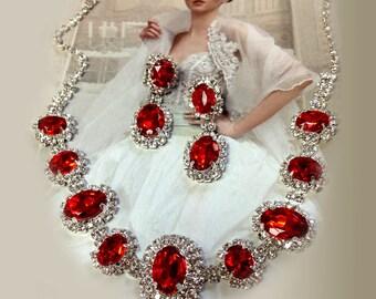 Wedding jewelry set ,Red crystal jewelry set, bridesmaid jewelry set, Bridal necklace earrings, vintage inspired rhinestone bridal statement