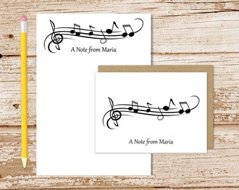 personalized music stationery set . music notes notepad + note card set . notecard note pad stationary . musician music teacher gift set