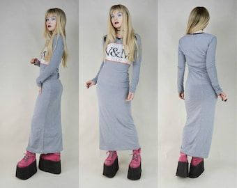 90s Cyber Goth Grey Bodycon Semi Sheer Maxi Dress S