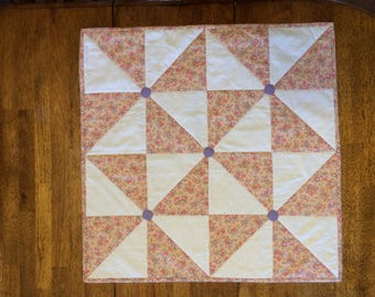 Peach - Purple - Flower - Quilted - Pinwheel - Table - Topper