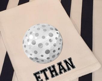 Personalized Sports Golf White Flour Sack Hand Towel Boys Girls Bathroom Hand Towel Birthday Party Favor Sports Gift