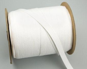 Heavy White Cotton Twill Tape Herringbone Tape Trim 5/8 Inches  5 Yards  ATN00205