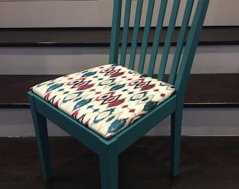 Gorgeous upholstered wooden chair with ikat embroidered John Lewis fabric and teal blue gloss paint
