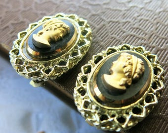 cameo earrings vintage clipon earrings black and gold cameo gift for her lace edge gold filigree earrings vintage jewelry