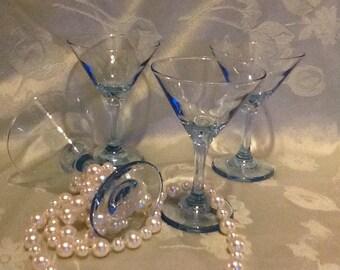 Powder Blue Martini Glasses Set of 4