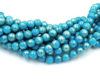 8mm Turquoise Blue Gold Dust Jade Beads Opaque Smooth - 16 inch strand