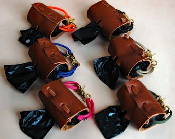 Poop Poop Bag Quiver by IkerVolk,  Poop Bag Holder, Dispenser, Pouch, for dogs waste bags, paracord, Leather