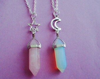 opalite or rose quartz crystal point necklace, moon necklace, pastel goth, kawaii, grunge