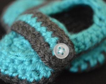 Newborn monk strap bootie, Boy shoe, Crochet bootie, Turquoise bootie, Baby boy booties