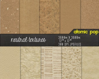 Neutral Brown & Beige Textured Digital Paper Pack// Instant Download for Decoupage, Scrapbooking, and Crafts // Cork, Pearl, Rice Paper