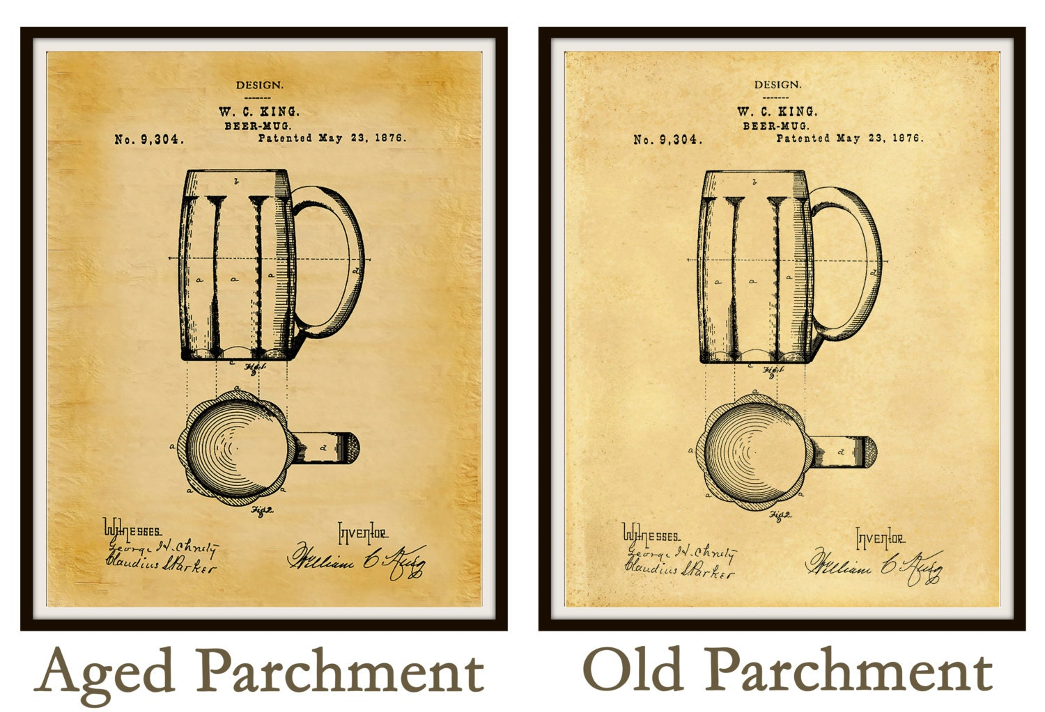 Patent 1876 Beer Mug - Art Print Poster - Man Cave - Bar Art ...