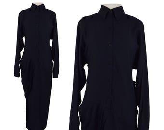 1980s Asymmetrical Dress, 80s Black Avant Garde Dress, Tokyo, Minimalist Dress, Black Drape Dress, Black Maxi Dress, Rayon, XS Small 2/4/6
