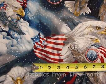 Patriots American Flag Eagles Patriotic BY YARDS Robert Kaufman Cotton Fabric