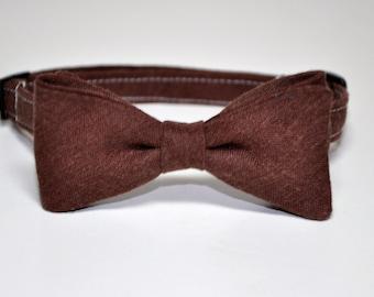 Boy's Tie - Chocolate Brown Linen Bowtie for Baby Toddler Boy Teen