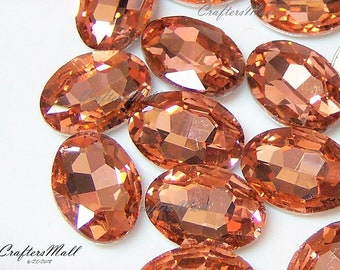 NEW/ 10-Peach Faceted Rhinestones/Oval 18x13mm Faceted Glass Rhinestones/Peach Rhinestones