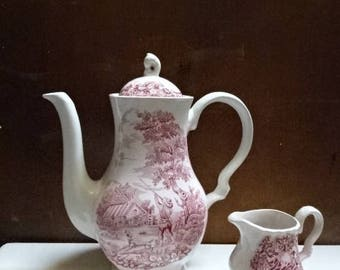 Myott Tea Pot & Creamer/The Hunter/Hand Engraved/Pink and White/Vintage