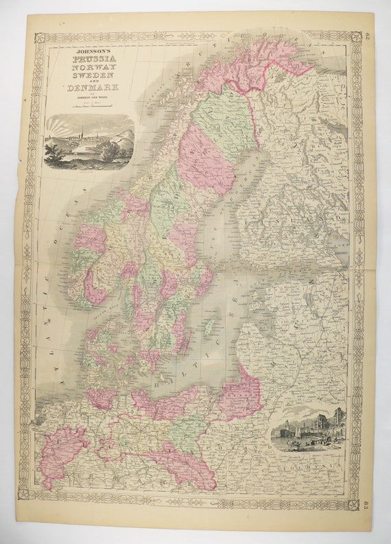 1800s sweden map norway denmark map scandinavia 1864 johnson map unique office gift for coworker antique art map northern europe map
