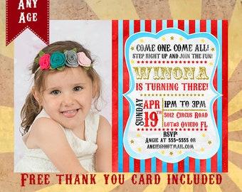 Carnival invitations Carnival birthday theme invitation Carnival birthday party invite Circus invitation Vintage circus birthday invitations