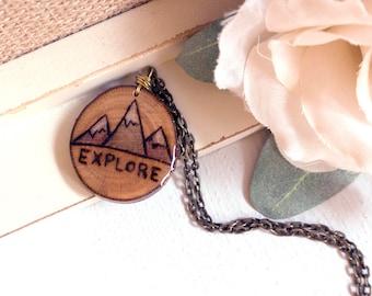 Explore Necklace, Mountain Necklace, Mountain Pendant, Explore Jewelry, Mountain Jewelry, Wanderlust Necklace, Mountain Range Necklace