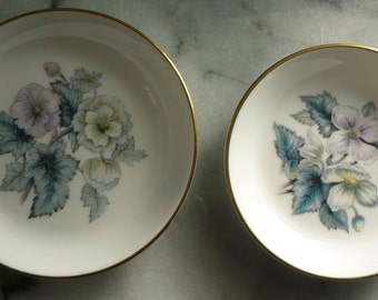 """Royal Worcester """"Woodland"""" 4"""" & 4.5"""" Trinket or Pin Dishes, Fine Bone China, wedding gift, holds rings safely, 1 box"""