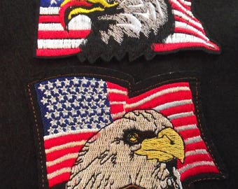 FREE SHIPPING,American EAGLE Applique,Flag Eagle Iron On Patch,Bikers Patch,Eagle Emblem,Jacket Patch,Fashion,Embroidered Patch,Eagle,Flag