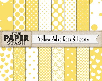 Yellow Polka Dot Digital Paper, Heart, Yellow, Digital Papers, Scrapbook Paper, Birthdy, Summer, Vacation, Tropical, Scrapbook Page, Print