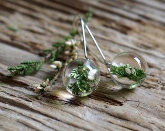 White Heather Resin Round Earrings, Long, Silver,  Forest Jewelry, Bridal Jewelry, Wedding Day, Botanical Earrings, Dangle & Drop Earrings