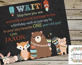 WOODLAND BIRTHDAY SIGN-In Sign, Woodland Birthday sign-in Board, Woodland Birthday Welcome Sign - Bear, Fox, Squirrel, Bunny, Bird