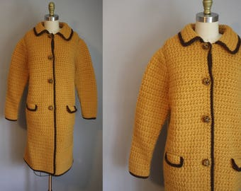 1960's Knit Peacoat // Mustard and Brown // Medium to Large