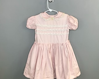 1950s Pink Girls Dress / Vintage Lace Peter Pan Collar Little Girls Dress / Pink Cotton Toddler 3T