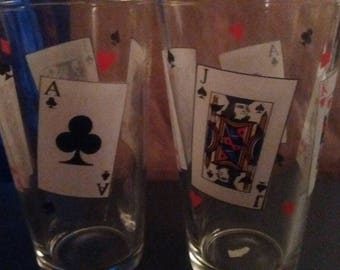 Lot of 2 Suit of Cards Spades Diamonds Clubs Hearts Drinking Glasses