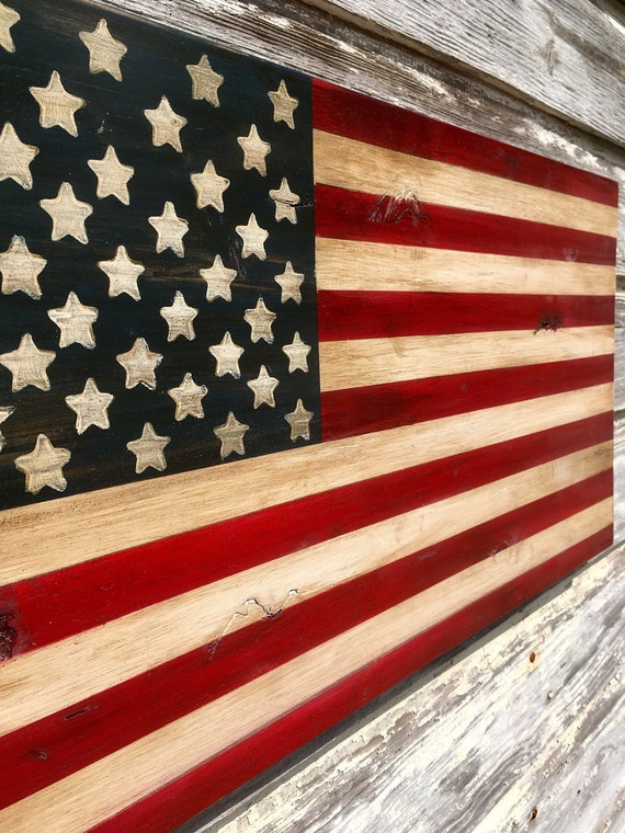 Finest Distressed Wood American Flag Art Rustic Weathered Painted YW04