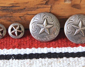 Vintage SOLID STERLING SILVER Pair Star Rosettes and Conchos made by Bo Bonds
