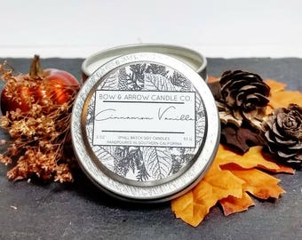 2 oz Natural Soy Candle Cinnamon Vanilla Scented | 2 oz Tin Candle | Cinnamon Soy Candle | Fall Scents | Autumn Candle | Vanilla Scented |