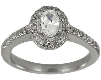 Diamond Halo Engagement Ring Oval Center 1/2 Carat 14K White Gold Oval Diamond Solitaire