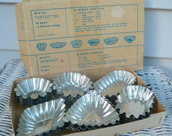 Vintage Tartlet Tin Set Thirty Six Tart Tin Repurpose Baking Tins by VintageReinvented