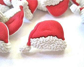 Christmas Santa Hat Craft Novelty Sewing Buttons Dress It Up Lot of 11