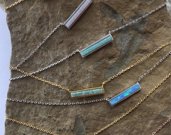 Opal Bar Necklace, Opal Necklace, Blue Opal, White Opal