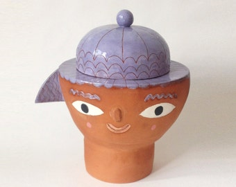 Lilac haired face jar