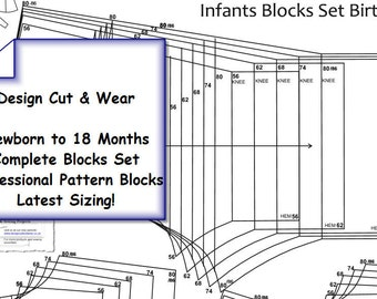 Baby Pattern Basic Blocks - Age 0 to 18 Months - Full Set - Latest Sizing! Ideal For Small Fashion Business