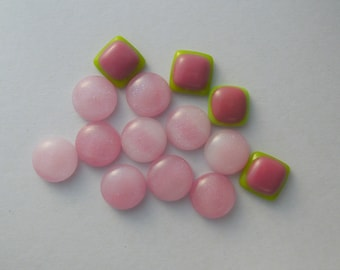 Dichroic fused Glass Mini Cabs, Bead Findings, Dichroic Cabochons, Fused Glass, Glass Beads, Buttons, Do It Yourself, DIY 5951