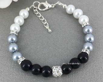 Gray Graduated Bracelet Ombre Bracelet Bridesmaid Gift Pearl Bracelet Ombre Jewelry Custom Jewelry Wedding Jewelry Set Gift for Mother