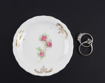 Vintage Pink English Rose Butter Pat Dish - Porcelain Ring Dish in Pink Gold Floral Design